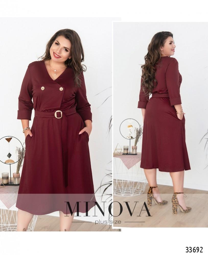Платье с V-образным вырезом горловины №1711-бордо