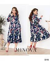 Платье с цветочным принтом №3120Б-синий, фото 1