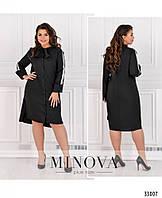 Платье-рубашка батал №4082-1-черный, фото 1