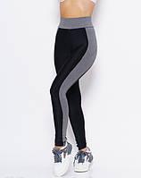Спортивные лосины из эластика Issa Plus 9947 черный с светло серым