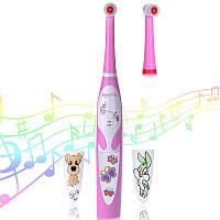 Детская электрическая зубная щетка BabySmile Girl (2 сменные насадки для детей, 8800 оборотов в мин., музыкальный таймер на 4 мелодии, эргономичная