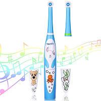 Детская электрическая зубная щетка BabySmile Kids (2 сменные насадки для детей, 8800 оборотов в мин., музыкальный таймер на 4 мелодии, эргономичная