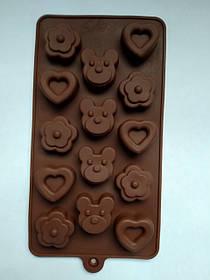 Силиконовая форма для конфет и льда *Мишка сердце цветы*