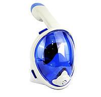Детская панорамная маска для дайвинга и снорклинга BabySmile White and Blue (бело-голубая, панорама 180, крепление для экшн камеры, трубка с клапаном