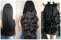 Волосы тресс на ленте на заколках затылочная прядь волна №1 черный длина 65см