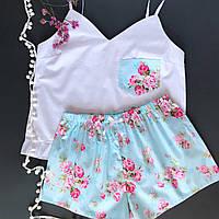Пижама женская хлопковая розы на голубом (майка + шорты)