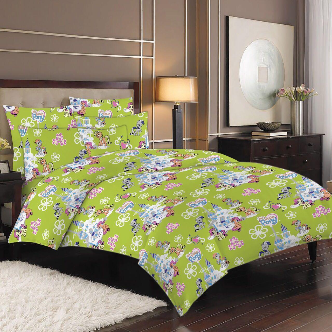 """Детский полуторный комплект постельного белья """"Пони на зелёном"""""""