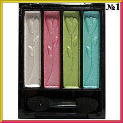 Тени для Век MS-0401 Перламутровые Компактные Тон 01 Белые, Розовые, Салатовые, Бирюзовые Цвета Макияж Глаз