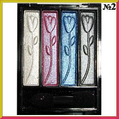 Тени Meis MS-0401 4-х цветные Белые, Розовые, Голубые, Серые Компактные Тон 02 Косметика,  Макияж Глаз