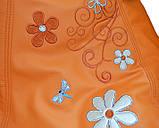 Кресло-груша мешок пуф бескаркасный sportkreslo Ромашка экокожа размер XL 110*130см оранжевый, фото 3