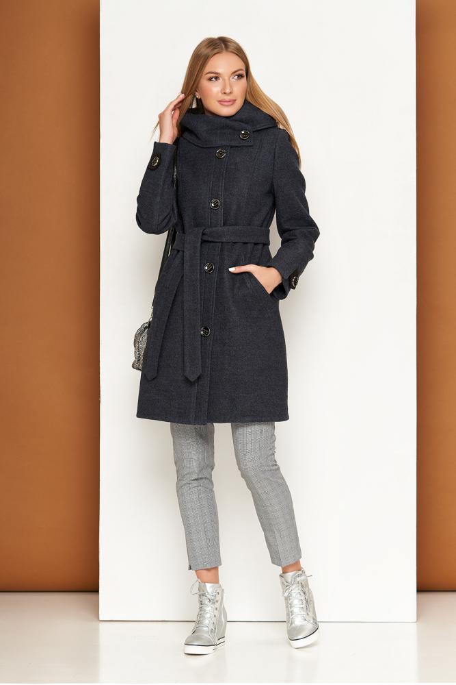 Женское пальто демисезонное из шерсти с капюшоном