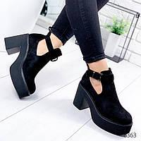 Ботинки женские Venna черные замша