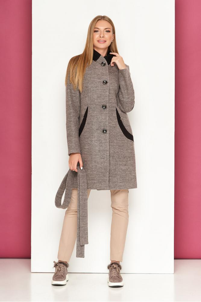 Женское осеннее пальто шерстяное светло-серое