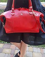 Сумка средняя кожа женская красная глянцевая 1620, фото 1