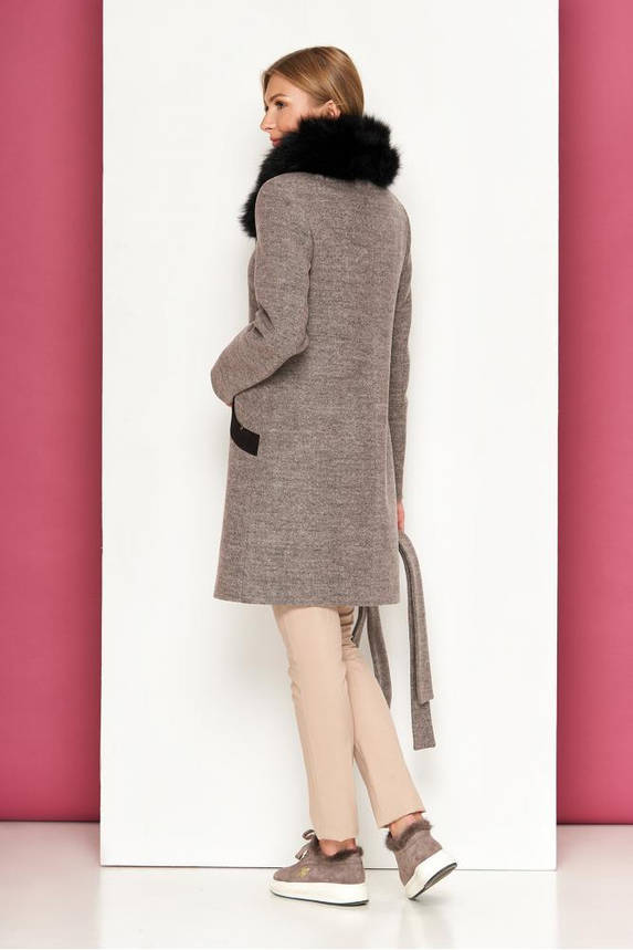 Женское зимнее пальто с песцом шерстяное, фото 2