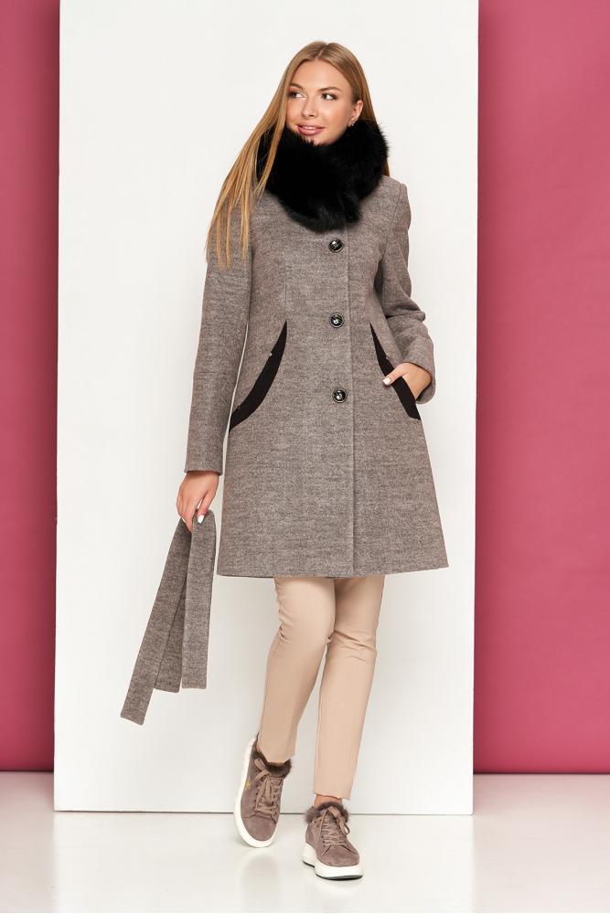 Женское зимнее пальто с песцом шерстяное