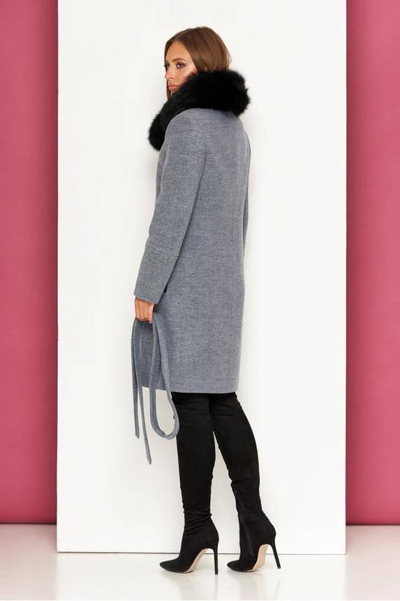 Женское зимнее пальто с натуральным мехом шерстяное, фото 2