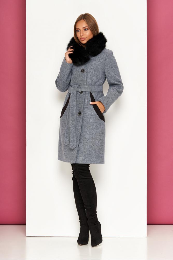 Женское зимнее пальто с натуральным мехом шерстяное