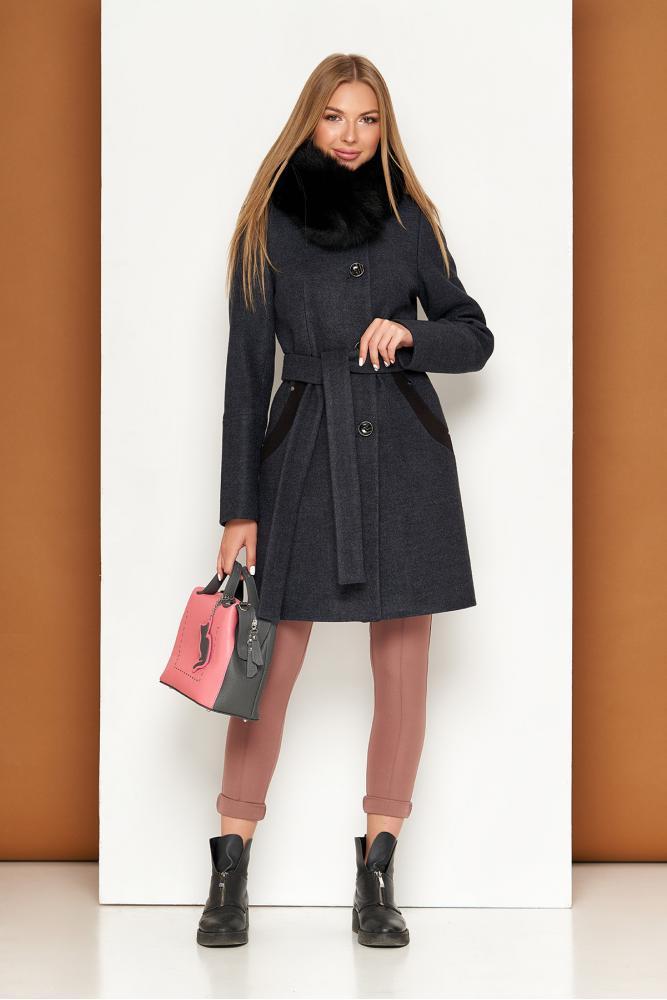 Женское зимнее пальто с мехом песца шерстяное теплое