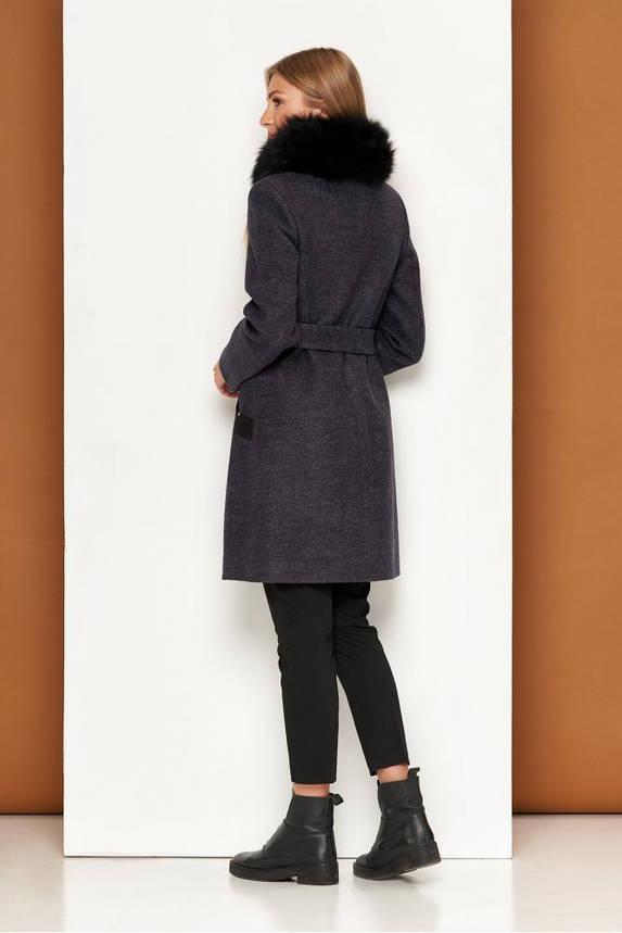 Женское теплое пальто зимнее с мехом песца шерстяное, фото 2