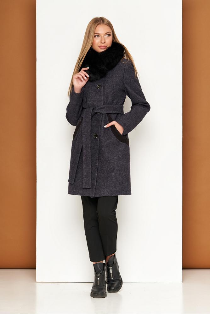 Женское теплое пальто зимнее с мехом песца шерстяное