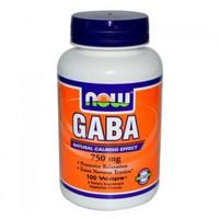 GABA/ГАБА/ГАМК  750 мг 100 капс жиросжигатель энергия  NOW FOODS