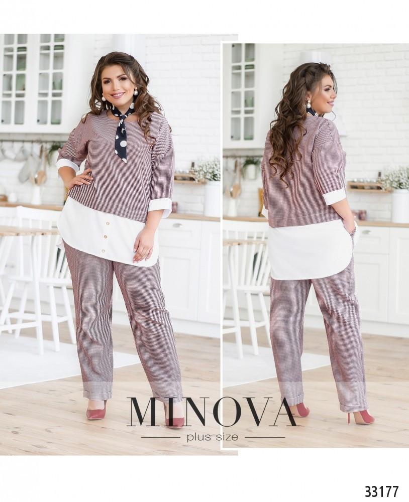 Костюм состоит из блузы и брюк №680-бордо