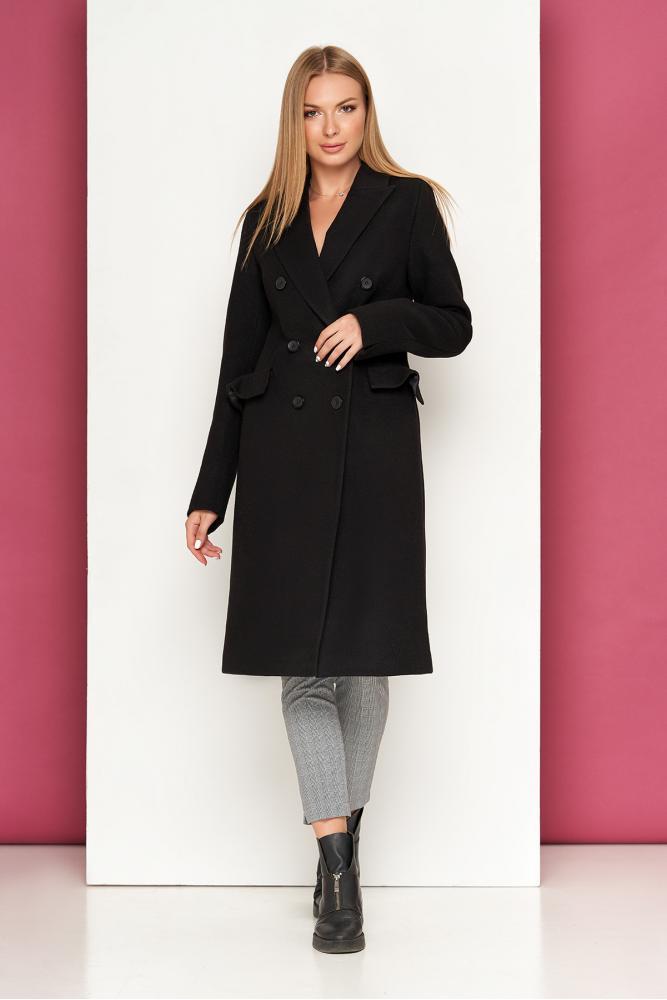 Черное кашемировое пальто осеннее классическое