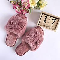 Тапочки открытые с ушками темно розовые