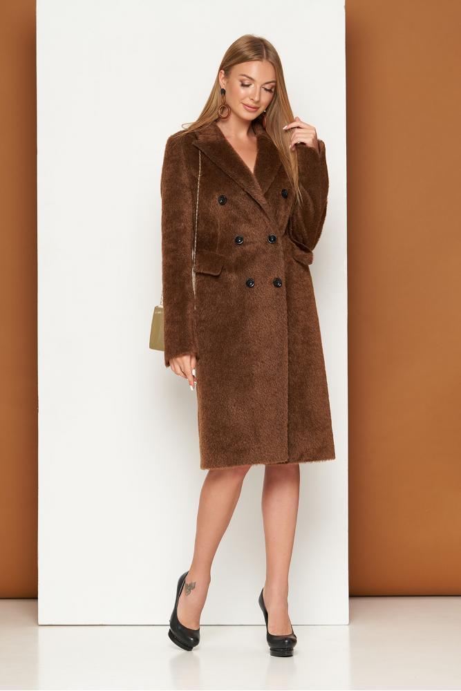 Женское шерстяное пальто классическое осеннее коричневое