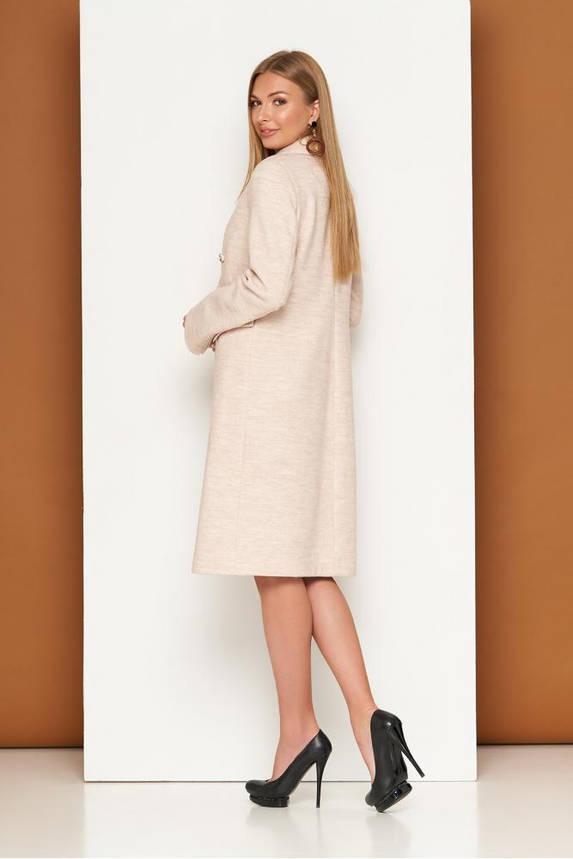 Женское классическое пальто демисезонное шерстяное бежевое, фото 2