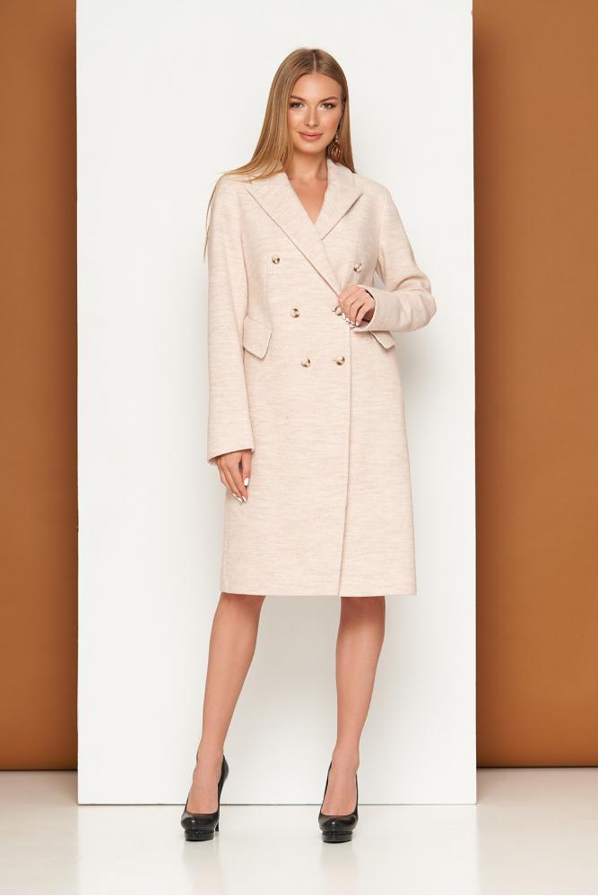 Женское классическое пальто демисезонное шерстяное бежевое