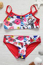 Детский купальник для девочки Польша GIRAFFE Красный
