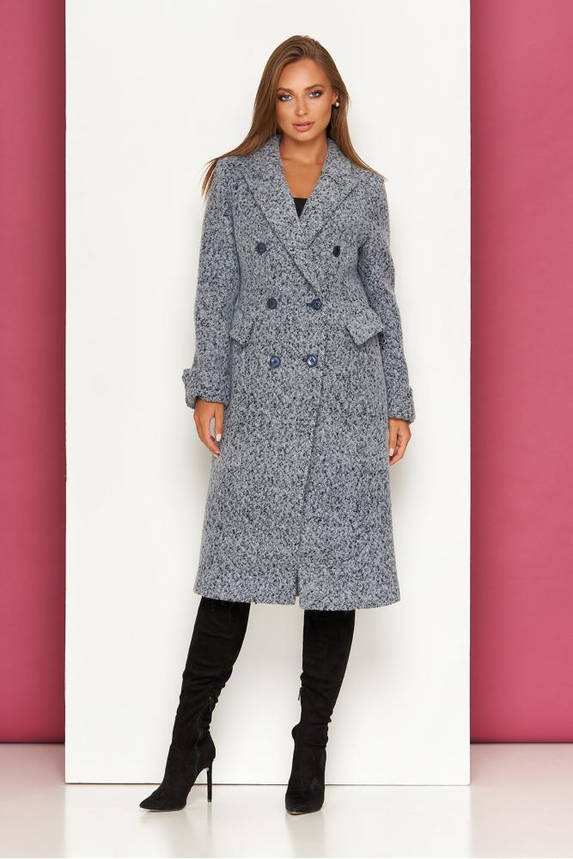 Женское классическое пальто осеннее шерстяное темно-серое, фото 2