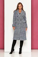 Женское классическое пальто осеннее шерстяное темно-серое