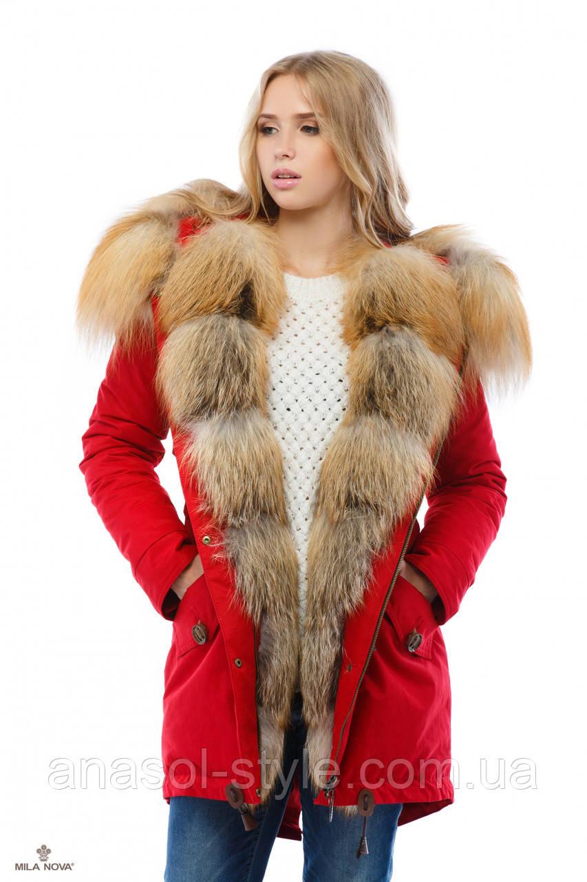 Парку жіноча зимова руде хутро чорнобурки червона
