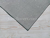 Глиттерный фоамиран, 60х40 см, серебро.