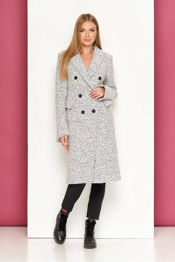 Женское классическое пальто демисезонное шерстяное светло-серое, фото 2