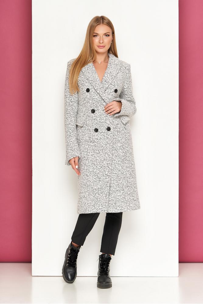 Женское классическое пальто демисезонное шерстяное светло-серое