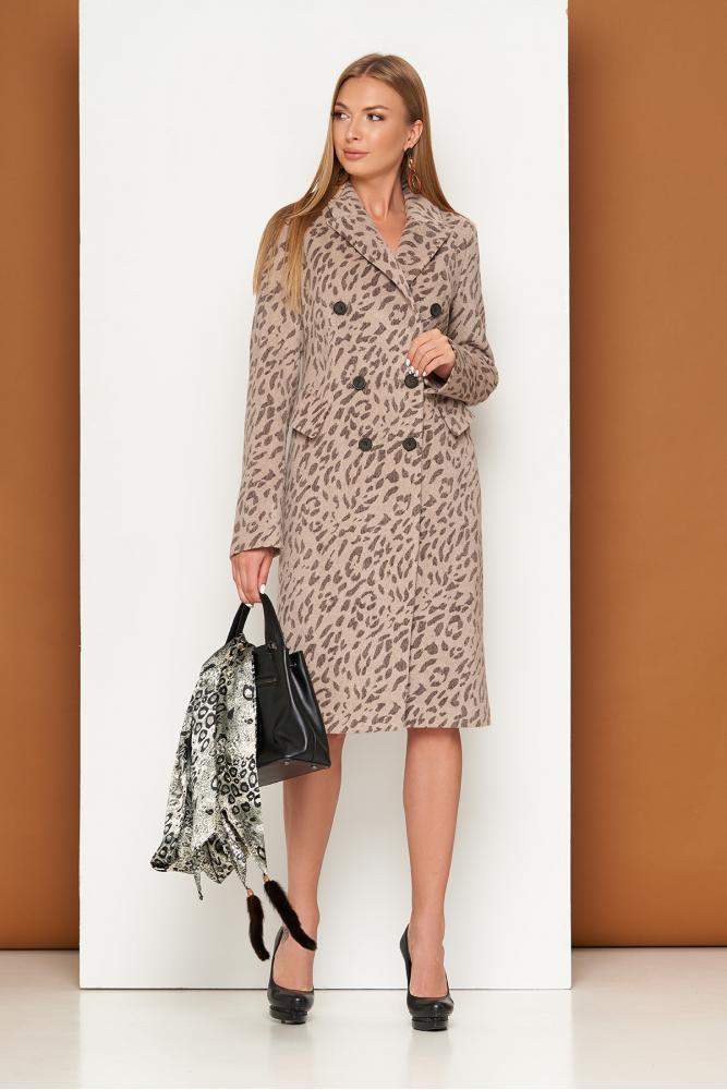 Женское классическое пальто с леопардовым принтом