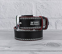 Кожаный ремень под джинсы Tommy 8038-2-1 черный, 40 мм, фото 1