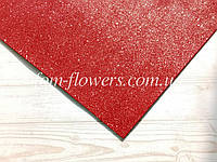 Глиттерный фоамиран, 60х40 см, красный.
