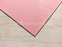 Глиттерный фоамиран, 60х40 см, светло-розовый., фото 1