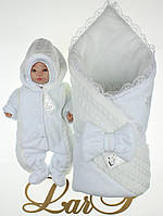 """Зимний набор """"Дуэт"""" на выписку из роддома 3 предмета - плед, человечек, шапочка. Белый, фото 1"""