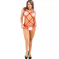 Жіноча еротична, сексуальне нижню білизну, сітка, червоне і чорне 11117-б, фото 1