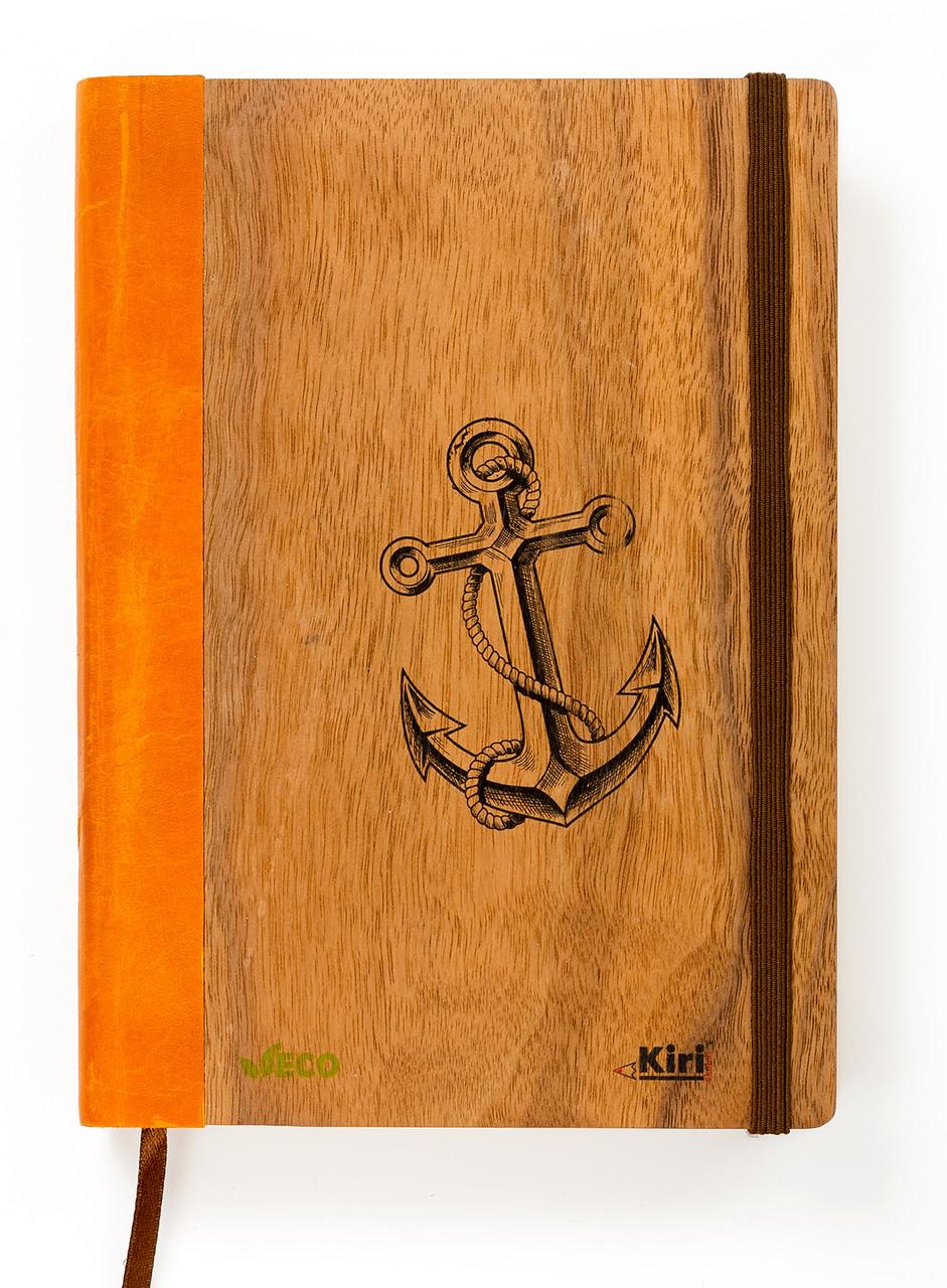 """Эко Ежедневник-мотиватор недатированный А5 """"Якорь"""", деревянный в книжном переплете + ручка, 368 стр."""
