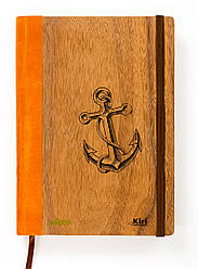 """Эко Ежедневник-мотиватор недатированный А5 """"Якорь"""", деревянный в книжном переплете, 368 стр."""