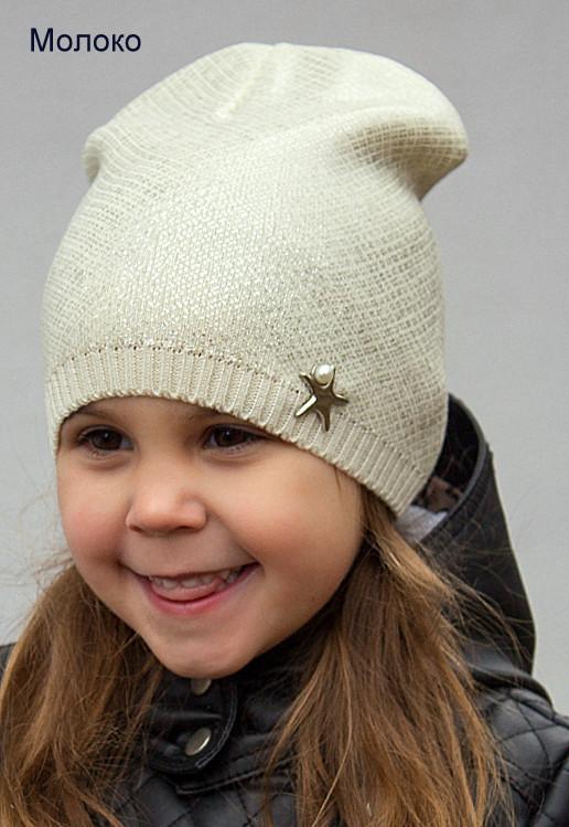Тонкая шапка на девочку с накатом, Молочный, 48-54 Молочный