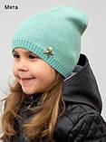 Тонкая шапка на девочку с накатом, Молочный, 48-54 Молочный, фото 2