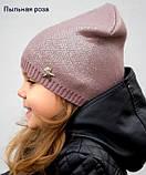 Тонкая шапка на девочку с накатом, Молочный, 48-54 Молочный, фото 4